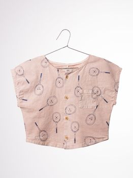 Bobo Choses - Blouse front buttons Tennis, off rose