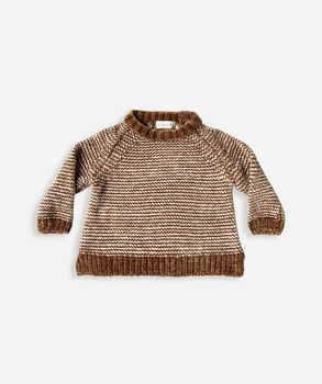 Rylee + Cru - Stripe chenille sweater, Saddle / Ivory