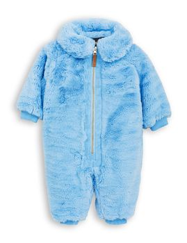 mini rodini - Faux fur overall, light blue