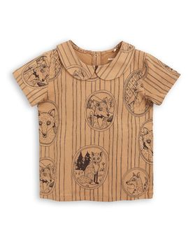 mini rodini - Fox family collar tee, brown