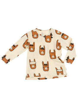 Tinycottons -  Llama heads ls relaxed tee, beige/brown