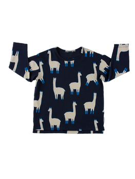 Tinycottons -  llamas ls relaxed tee, dark navy/beige