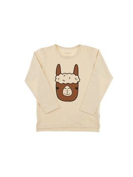 Tinycottons -  Llama face graphic tee, beige/brown