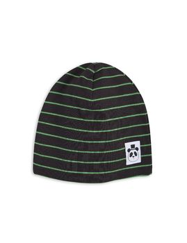 mini rodini - Stripe rib beanie, black