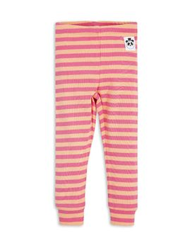 mini rodini - Stripe rib leggings, pink/apricot