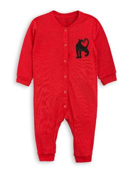 mini rodini - Panther wool onesie, red