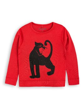 mini rodini - Panther wool tee, red