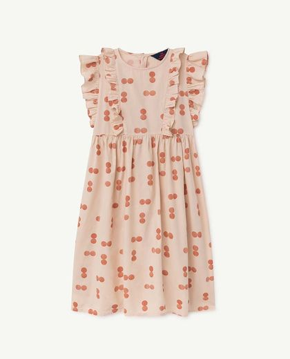 TAO - OTTER KIDS DRESS, ORANGE CIRCLES