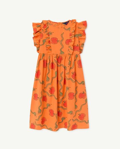 TAO - OTTER KIDS DRESS, ORANGE APPLES & SNAKES