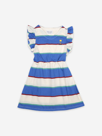Bobo Choses - Stripes Jersey Ruffle Dress, 121AC112
