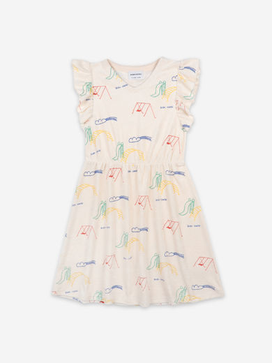 Bobo Choses - Playground All Over Terry Fleece Ruffle Dress, 121AC113