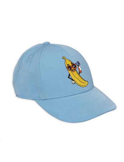 Mini Rodini - Banana embroidery cap, Light blue