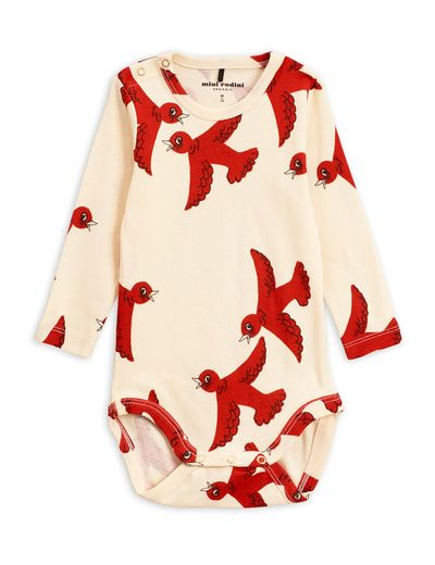 Mini Rodini - Flying birds ls body, offwhite