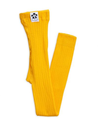 Mini Rodini - Ribbed leggings, yellow