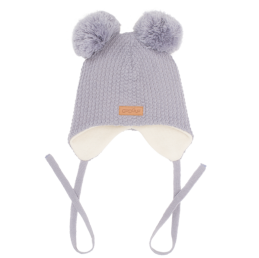 Gugguu - Beanie with double tuft and ear flaps, grey