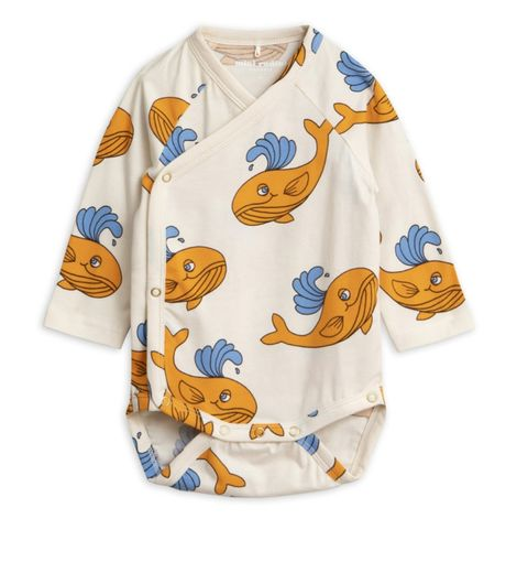 Mini Rodini - Whale aop wrap ls body, orange