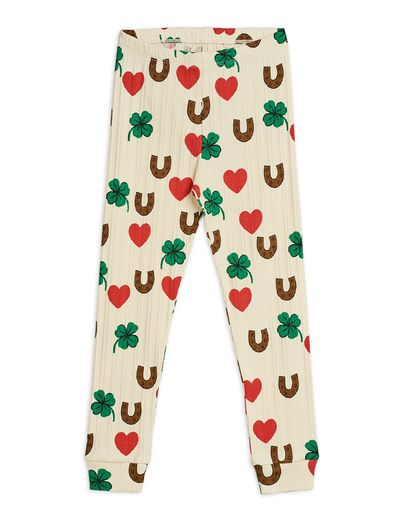 Mini Rodini - Clover aop leggings, Beige