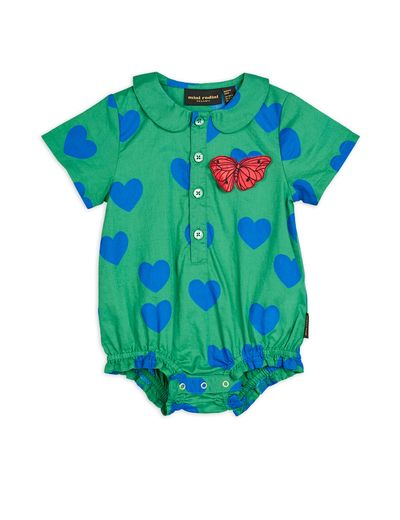 Mini Rodini - Hearts woven body, Green