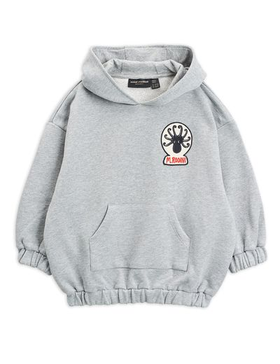 Mini Rodini - Octopus patch hoodie, Grey melange