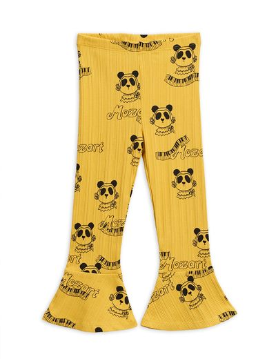 Mini Rodini - Mozart aop flared pants, Yellow