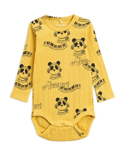 Mini Rodini - Mozart aop ls body, Yellow