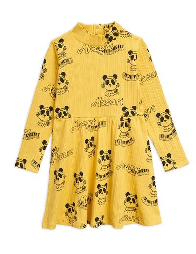 Mini Rodini - Mozart aop ls dress , Yellow