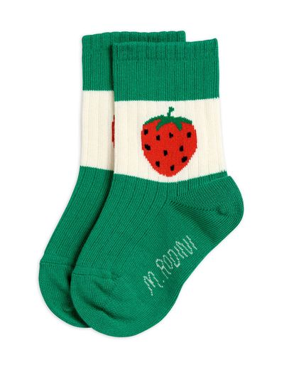 Mini Rodini - Strawberry ribbed socks, Green