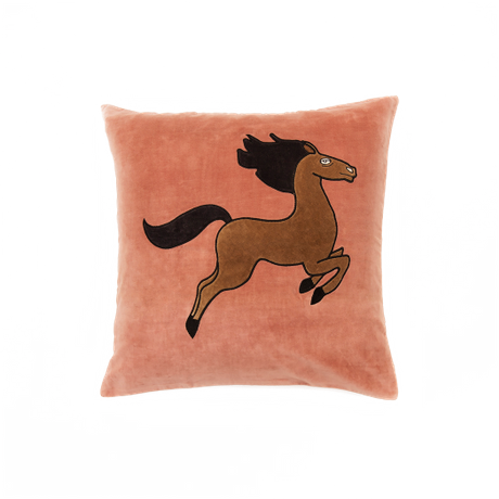 Mini Rodini - Horse velvet cushion cover 50x50cm, pink