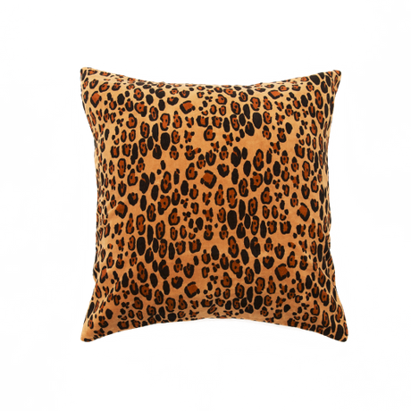 Mini Rodini - Leopard velvet cushion cover 50x50, brown