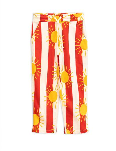Mini Rodini - Sun stripe aop trousers, Red