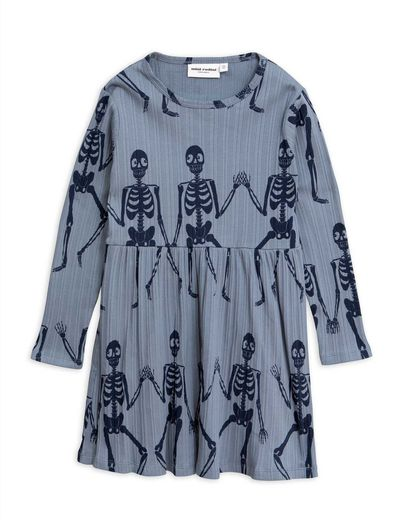 Mini Rodini - Skeleton aop ls dress, Blue