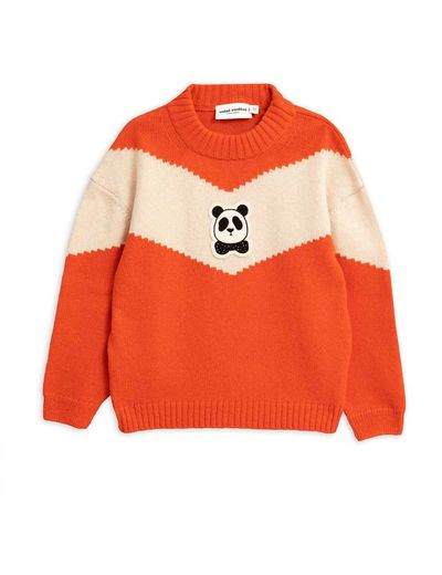 Mini Rodini - Panda knitted wool sweater, Red