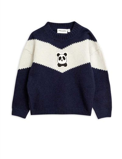 Mini Rodini - Panda knitted wool sweater, Blue