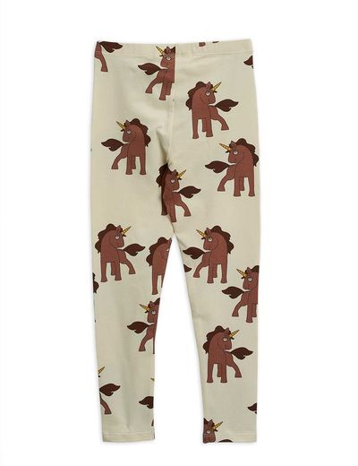 Mini Rodini - Unicorns aop leggings, Offwhite