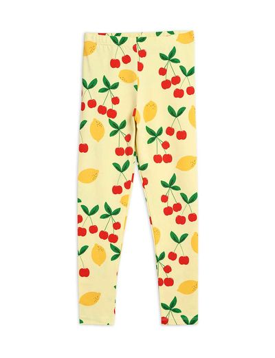 Mini Rodini - Cherry lemonade aop leggings, Yellow