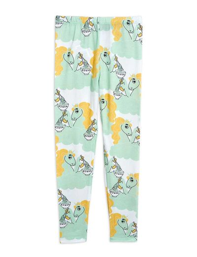 Mini Rodini - Unicorn noodles aop leggings, Green