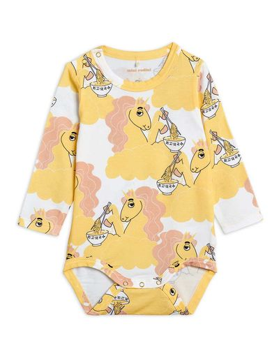 Mini Rodini - Unicorn noodles aop ls body, Yellow