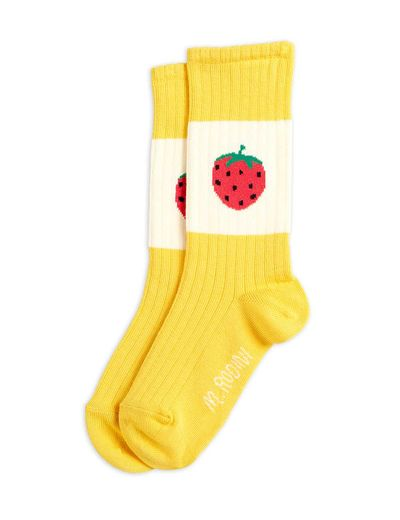 Mini Rodini - Strawberry ribbed socks, Yellow