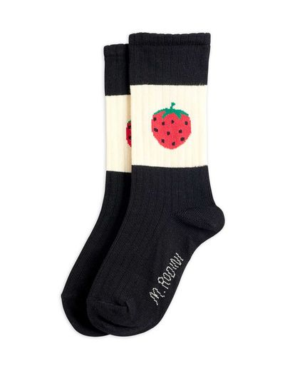 Mini Rodini - Strawberry ribbed socks, Black