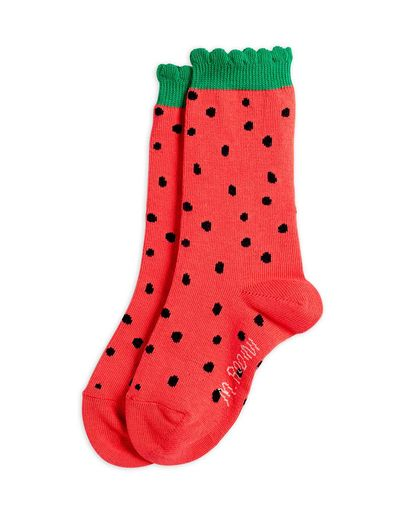 Mini Rodini - Strawberry scallop socks, Red