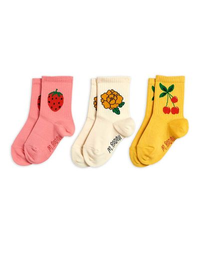 Mini Rodini - Cherry and co 3 pack socks, Multi