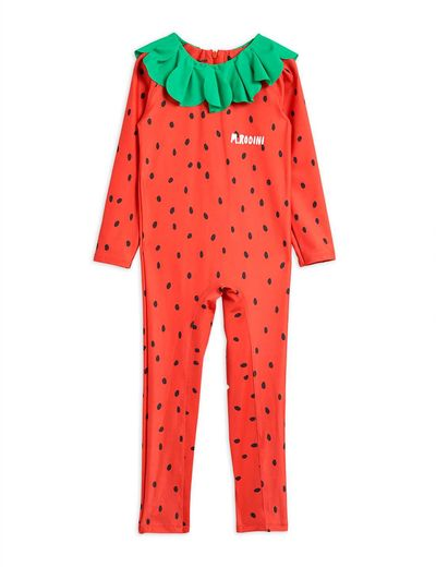 Mini Rodini - Strawberry UV suit UPF 50+, Red