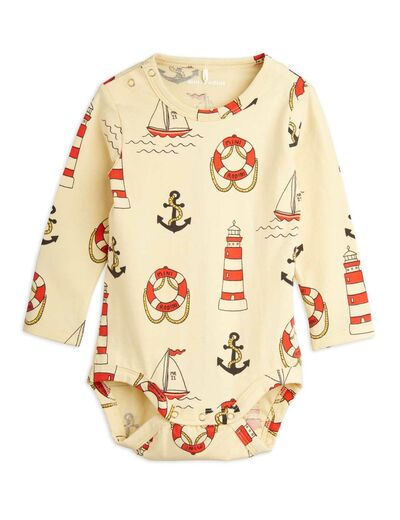 Mini Rodini - Lighthouse aop ls body, Yellow