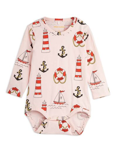 Mini Rodini - Lighthouse aop ls body, Pink