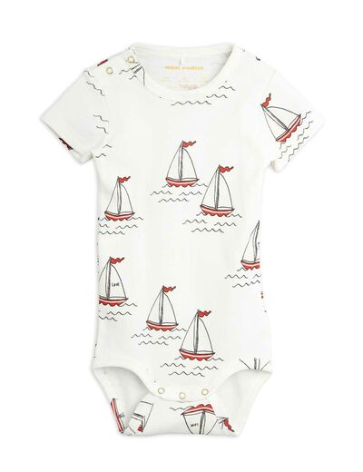 Mini Rodini - Sailing boats aop ss body, White