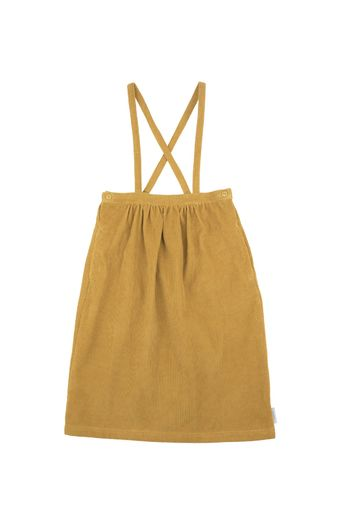 Corduroy braces mid-lenght skirt, mustard