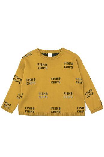 Tinycottons - Fish & chips sweater, mustard/dark green