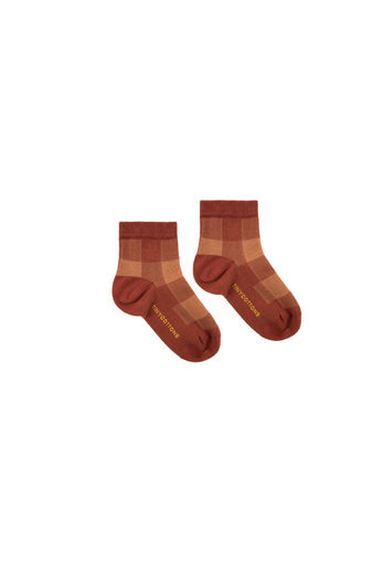 Tinycottons - CHECK QUARTER SOCKS, dark brown / brown