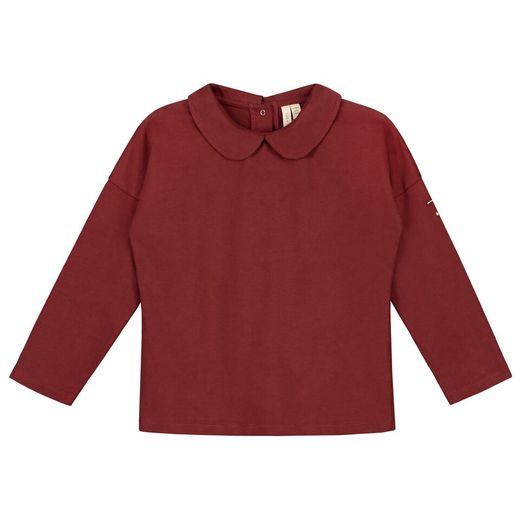 Gray label- LS collar tee, burgundy