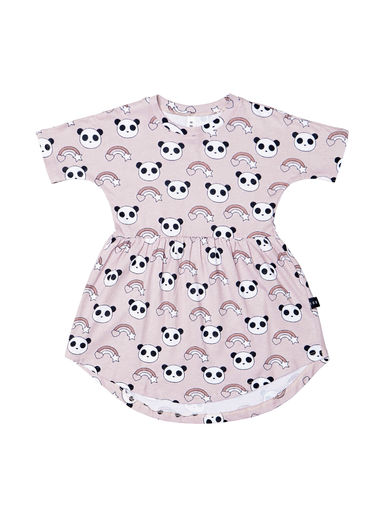 Huxbaby - RAINBOW PANDA SWIRL DRESS, Sugar